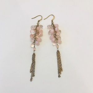 Jewelry - 3 for $8 / Pink bead + gold chain dangle earrings